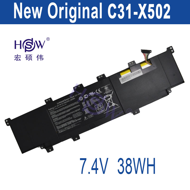 HSW  Battery C21-x502 Battery for Asus Vivobook X502 X502c X502ca Series Laptop battery 7.4v 38wh bateria akku hsw brand new 6cells laptop battery c4500bat 6 c4500bat6 6 87 c480s 4p4 for clevo c4500 series laptop battery bateria akku