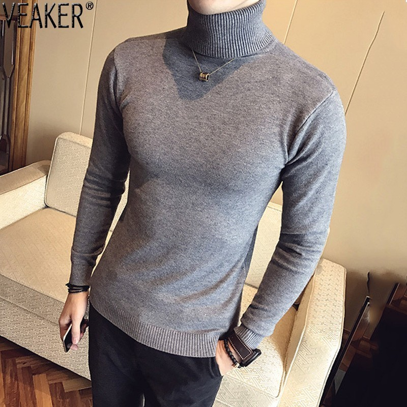 2019 Autumn New Men's Turtleneck Sweaters Male Black Gray Sexy Slim Fit Knitted Pullovers Solid Color Casual Sweaters Knitwear(China)