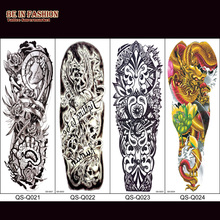 1pc 48x17cm Large Waterproof Full Arm Tattoo Sticker Fake Tattoos Sleeve Ink Death Skull On The Body Art For Men Women