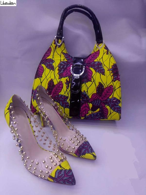 Мода Африканский воск печати ткань сумки желтый цветок соответствующие женщины воск высокий каблук модная обувь 10 см наборы для леди испол...