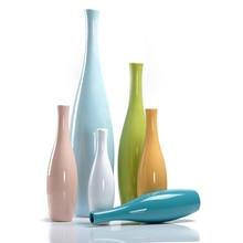 European style Ceramic Vase colorful flower bottle Adornment Handicraft office Porcelain Home Decor Furnishing Articles