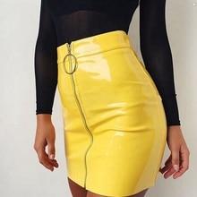 New  Fashion Womens Ladies Casual PU Leather High Waist A-Line Bodycon Zippers Mini Short Skirt