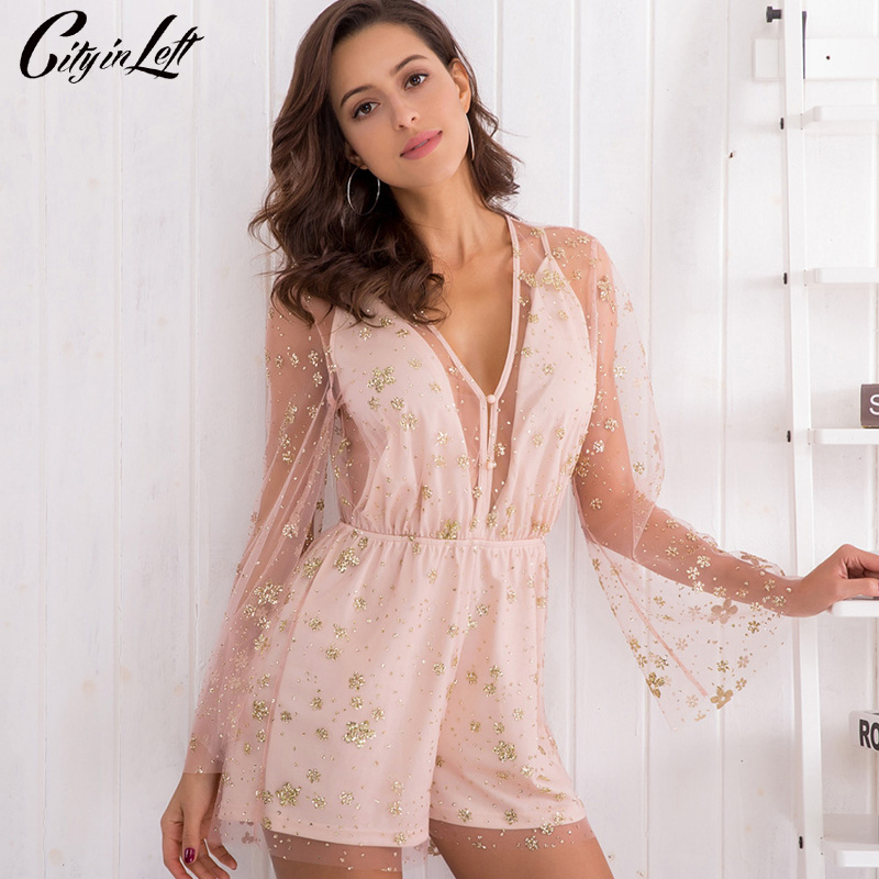 CITY 2018 Spring Summer New Women Sexy Jumpsuit Long Sleeve Mesh Embroidery Printing Transparent V-neck Deep Jumpsuit CT1226 ...