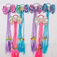 12 Pieces/lot Hair Accessories Girls Hair Bows Gum For Hair Mermaid Long Braids Elastic Hair Bands Kid Hair Rubber Ties Headwear