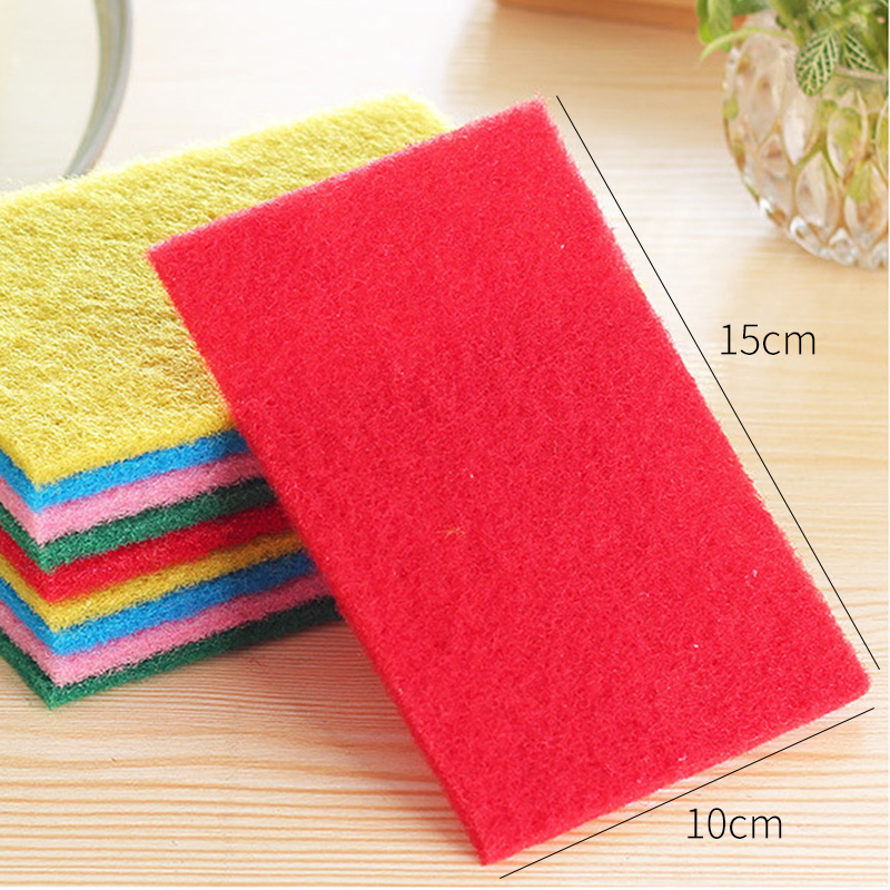 20Pcs Hard Colored Scouring Pad Dish Cleaning Cloth Washing Pot Sponge Rag Kitchen Without Oil Brush Color mixing in Sponges Scouring Pads from Home Garden