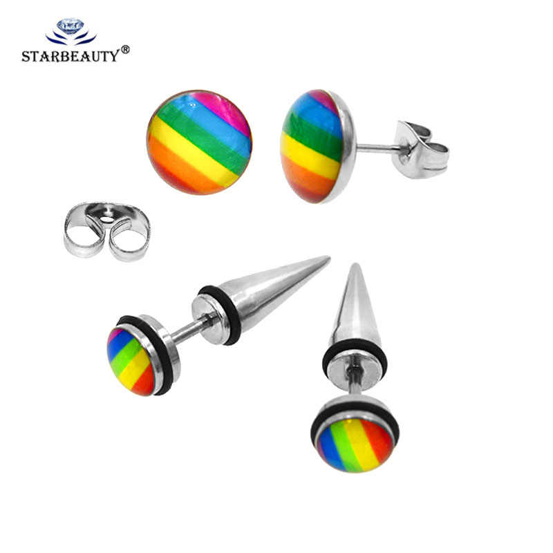 1Pc Fashion Rainbow Prong Tragus Cartilage Piercing Stainless Steel Ear Earrings Piercing Stud Jewelry Silver Clear boucle