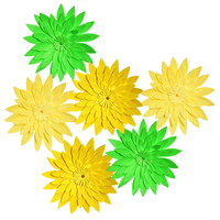 HAOCHU Fresh Spring Green Theme Party Decoration Set Yellow Daisy Paper Flower DIY Craft For Outdoor