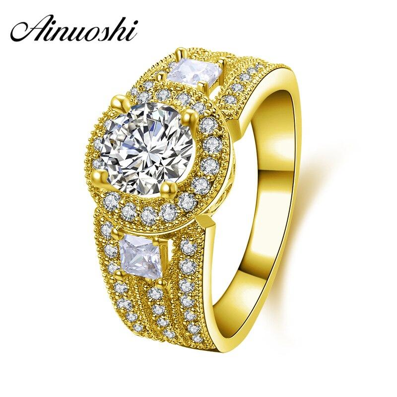 AINUOSHI 10 K anillo de oro amarillo sólido 3 taladro fila 1 quilates corte redondo Sona simulado diamante Halo mujeres anillo de banda de compromiso