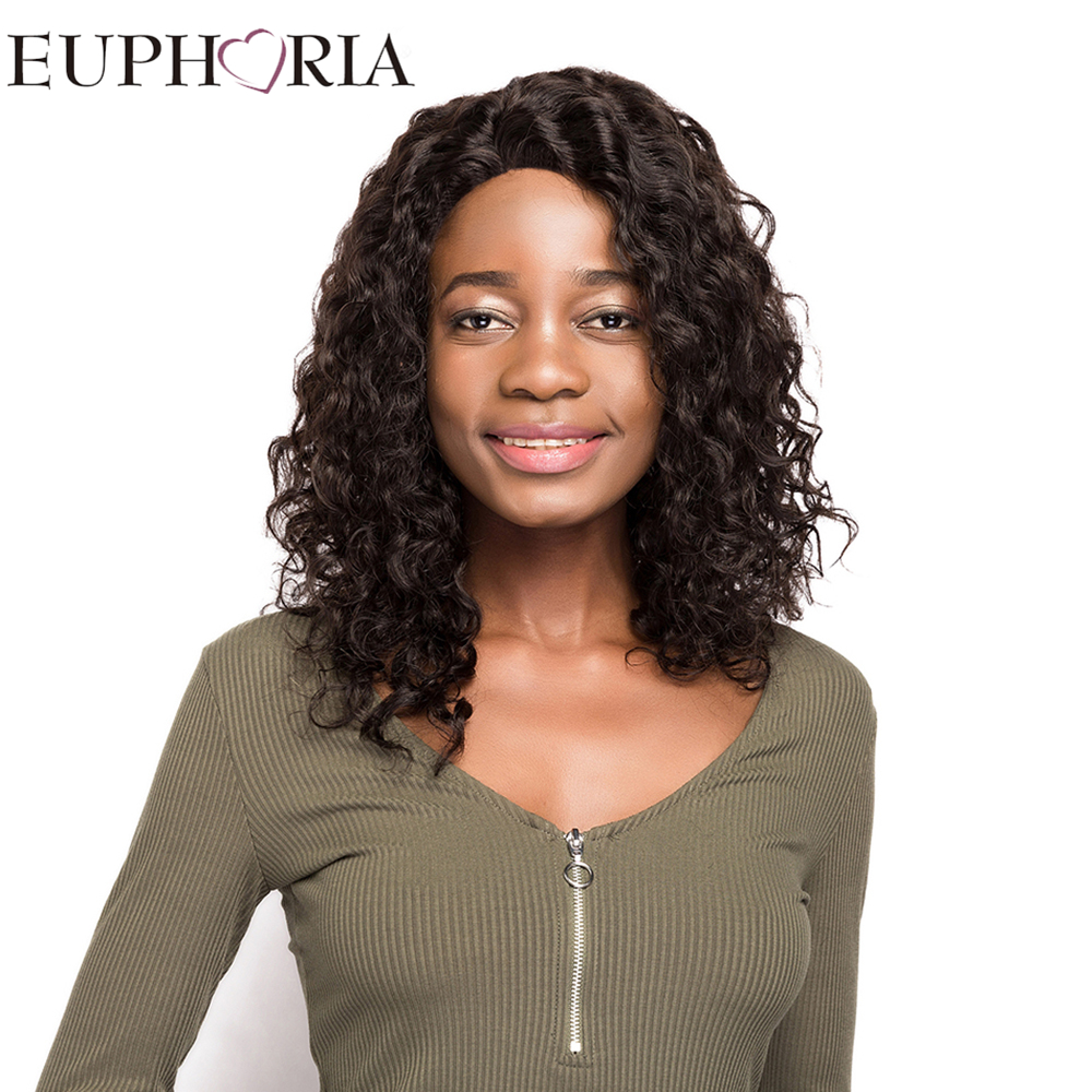 EUPHORIA 18 Afro Kinky Curly Human Hair Lace Frontal Wigs&L Part Lace Natural Color Braz ...