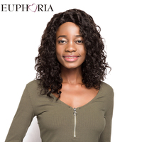 EUPHORIA 18'' Afro Kinky Curly Human Hair Lace Frontal Wigs&L Part Lace Natural Color Brazilian Remy Hair Wigs For Women