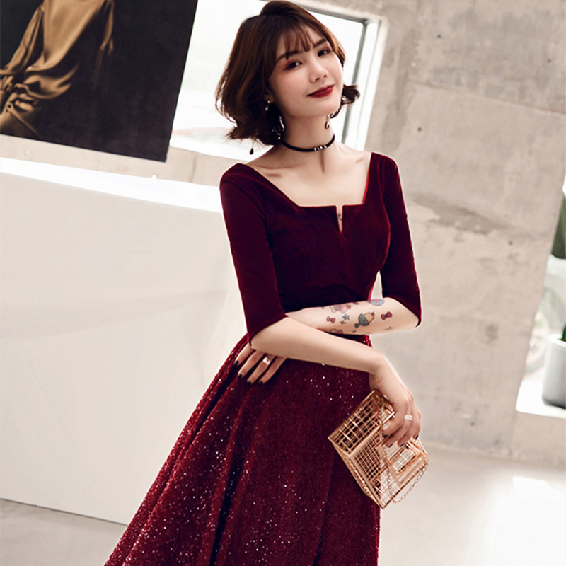 2019 New Cocktail Dresses Elegant Sequined Party Formal Dress Royal Half Sleeves Zipper Back A-line Tea Length Prom Gowns E368