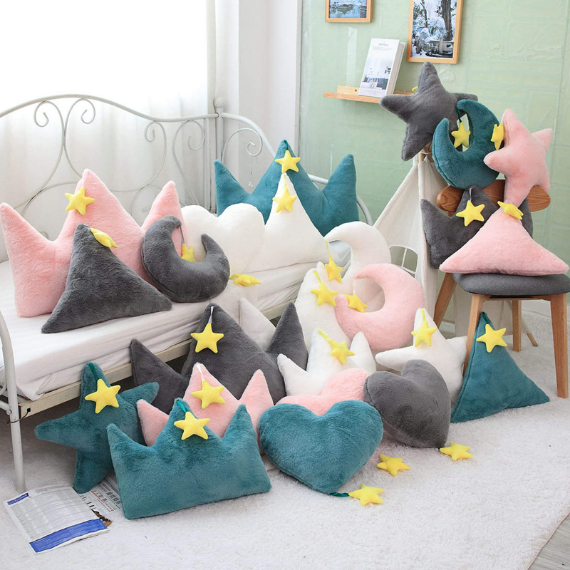 Crown Plush Pillow Colorful Stuffed Soft Star Heart Shape Throw Pillow Moon Cushion Baby Kids Gift Girls Baby Room Decoration