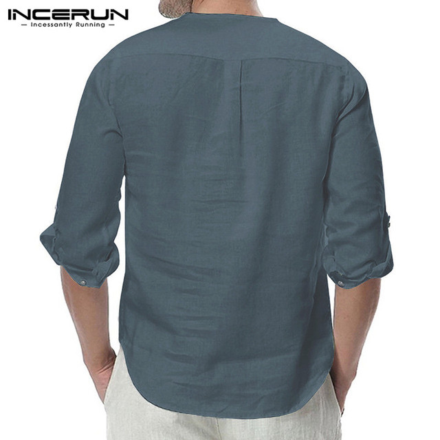 INCERUN Fashion Men Shirt Long Sleeve Cotton Solid Casual Basic Shirt Men Tops Leisure Fitness Pullovers Camisa Plus Size 2019 3