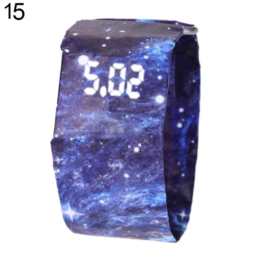 Креативный водонепроницаемый унисекс студенческий светодиодный светильник цифровой дисплей бумажные часы подарок - Цвет: 15