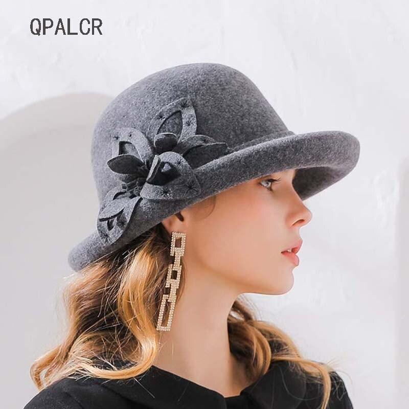 bbd9dc2c8528c QPALCR Winter Wool Fedoras Hats For Women Formal Elegant Female Felt Hat  Flower Curl Brim Dome Black Church Hats Classic Topper