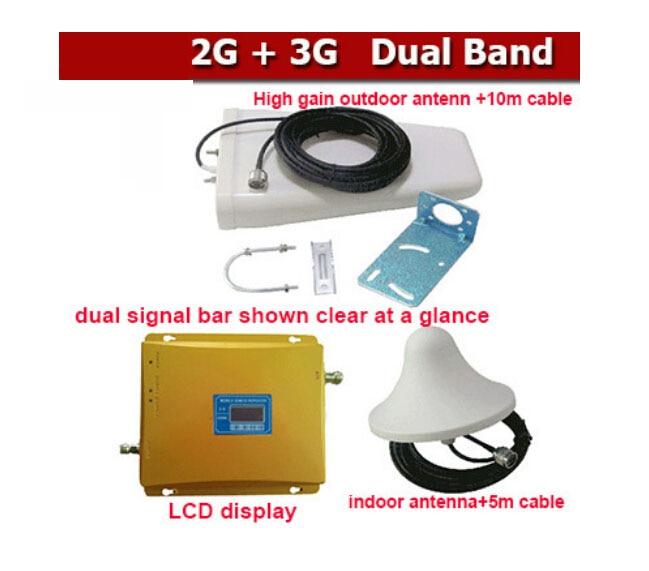 3G gsm répéteur GSM 2G 3G répéteur double bande amplificateur de signal de téléphone portable GSM900 + WCDMA2100 kits antenne complète