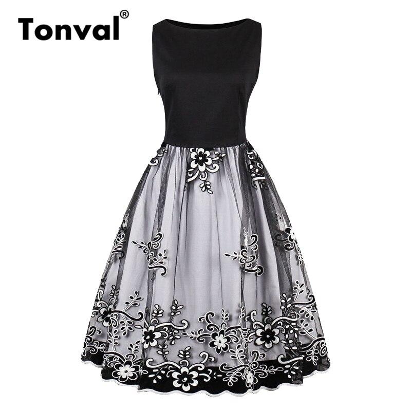 4cf1feeb689 Tonval петлевая вышивка Цветочная плиссированное платье для женщин  великолепные Винтаж летнее Pinup Fit and Flare рокабилли