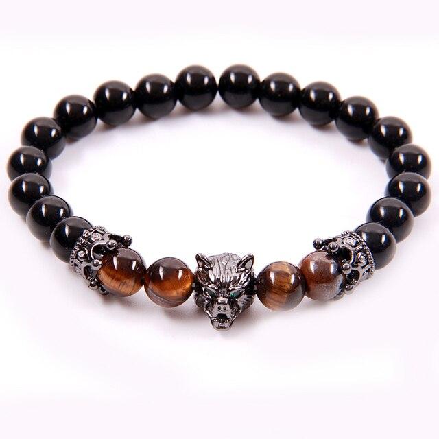 NCRHGL Tiger Eye Natural Stone Beads Bracelet Men Strand Jewelry Crown Helmet Charm Bangles Women Gift High Quality