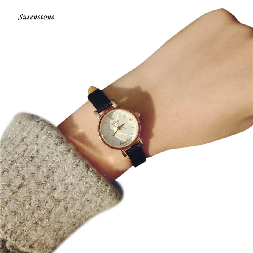 Fashion Leisure Style Women Watch Small Leather Band Table Quartz Watch Female Clock Analog Casual Ladies Girls Wristwatches concept of vortex female student individuality creative watch han edition contracted fashion female table