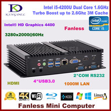 Kingdel Intel Core i5 4200U mini pc 8 Г RAM + 500 Г ЖЕСТКИЙ ДИСК, HDMI 2 COM rs232, USB 3.0, wi-fi, Без Вентилятора промышленного pc