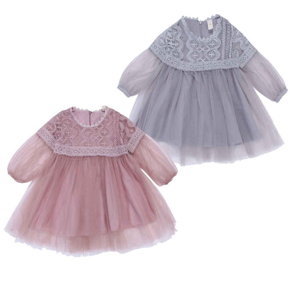 8b87deb20396a Mesh Tutu Dress Gray/Pink Baby Girls Long Sleeve Kids Hot Tulle Party  Wedding Dress Princess Clothes