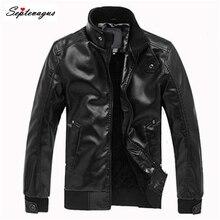 Мужской кожаный мотоциклетный повседневный черный пиджак со стоячим воротником; jaquetas masculina em couro; motocicleta chaqueta de los hombres