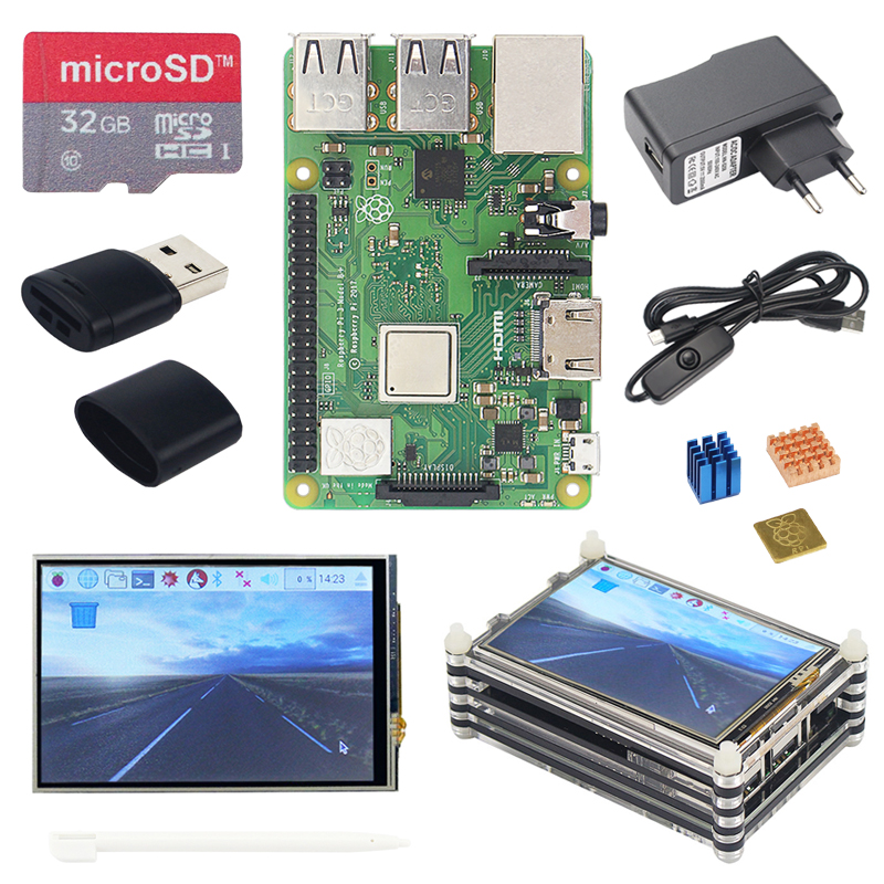 Raspberry Pi 3 Modelo B + Más Kit De Inicio + Pantalla Táctil De 3,5 Pulgadas + Funda Acrílica De 9 Capas + Fuente De Alimentación + Cable USB + Disipadores De Calor