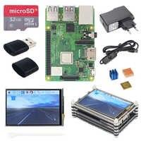 Raspberry Pi 3 modèle B + Plus Kit de démarrage + écran tactile 3.5 pouces + boîtier acrylique 9 couches + alimentation + câble USB + dissipateurs de chaleur