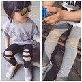 2017 Nueva moda de primavera y verano de algodón niños niñas agujero sólido gris negro Leggings