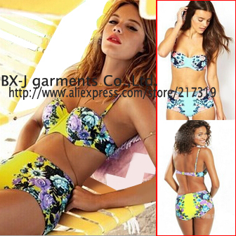 8befe627ca 2015 High Waist Bikini Set Retro Floral Printed Swimwear