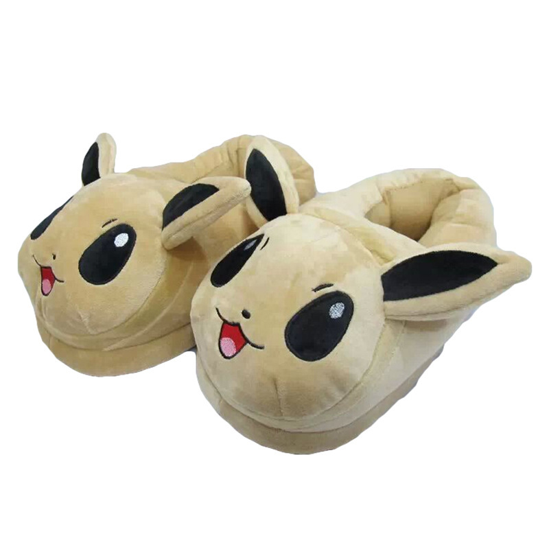 Winter Men or Women Cartoon Pokemon Slippers Elf Ball Pikachu Pokemon Go Plush Shoes Warm House Slippers