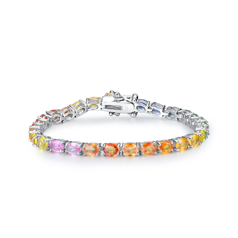 PJC Nature Colored Gemstone Sterling Silver Luxury Engagement Party Bracelet for Woman Gift
