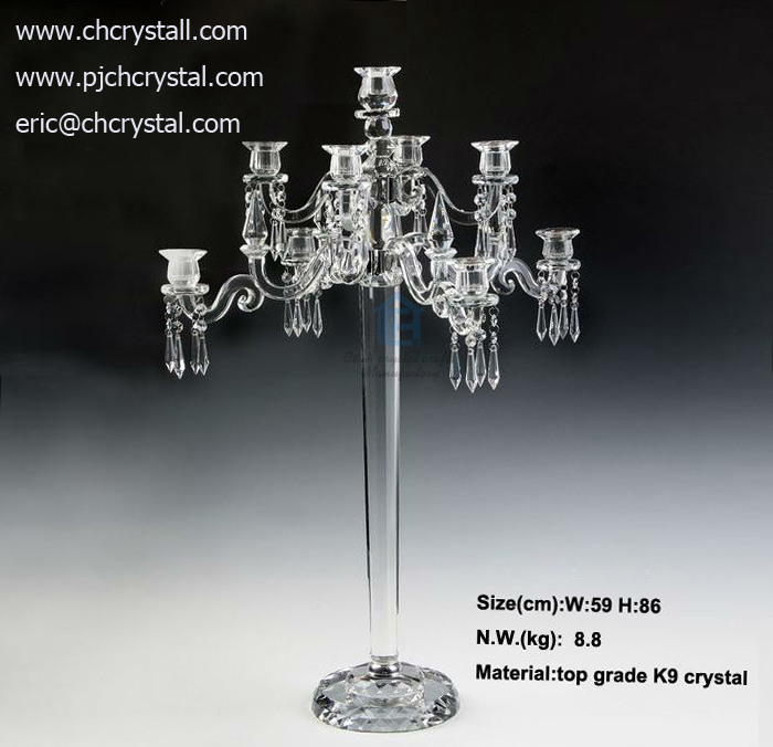 K9 Dual Purpose 9 Arms Crystal Candelabra Or Flower Bowl With 8 Arms 86cm High Crystal Candelabra For Wedding Events