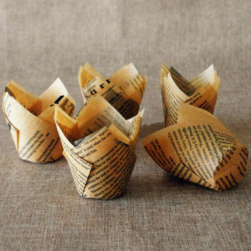 High exports large baking a paper cupcake bread newspaper oiled paper packaging 50 Cake paper cups holder English letters