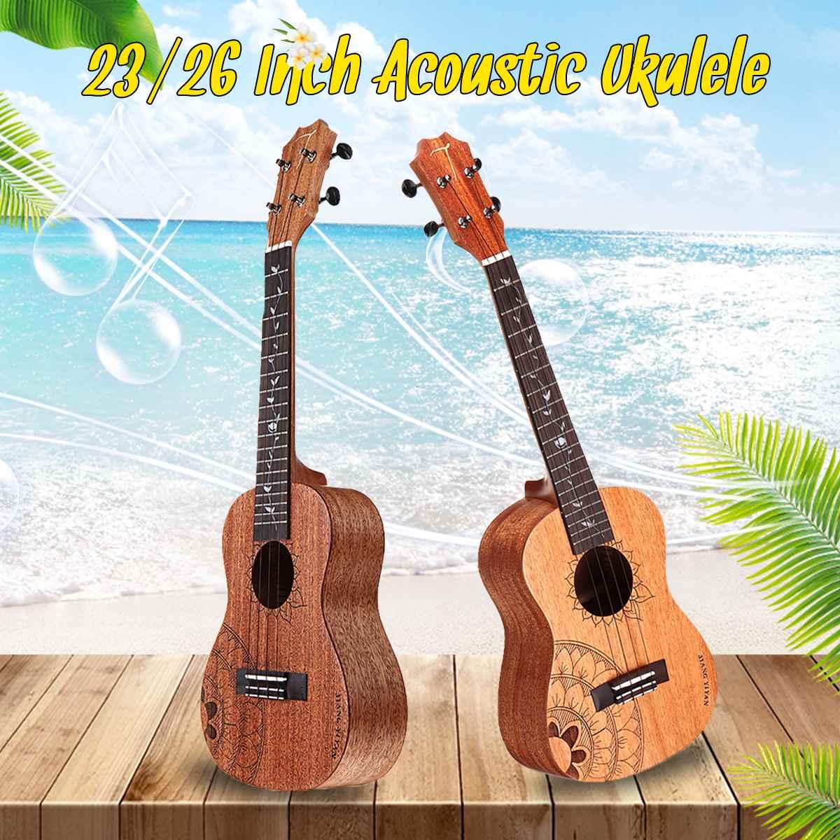 23/26 pouces Standard C/T Type ukulélé acajou bois mat 4 cordes Uke Hawaii basse à cordes Instrument de musique + sac