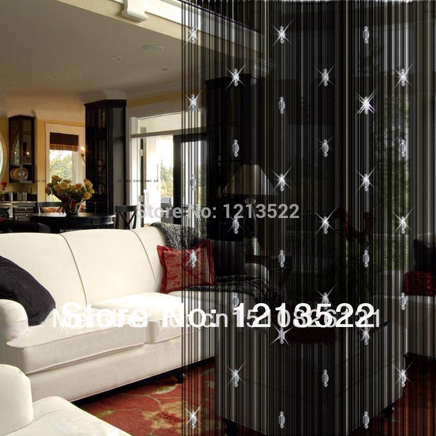 Effen Kleur Decoratieve Gordijn Met 3 Kralen Deur Window Panel ...