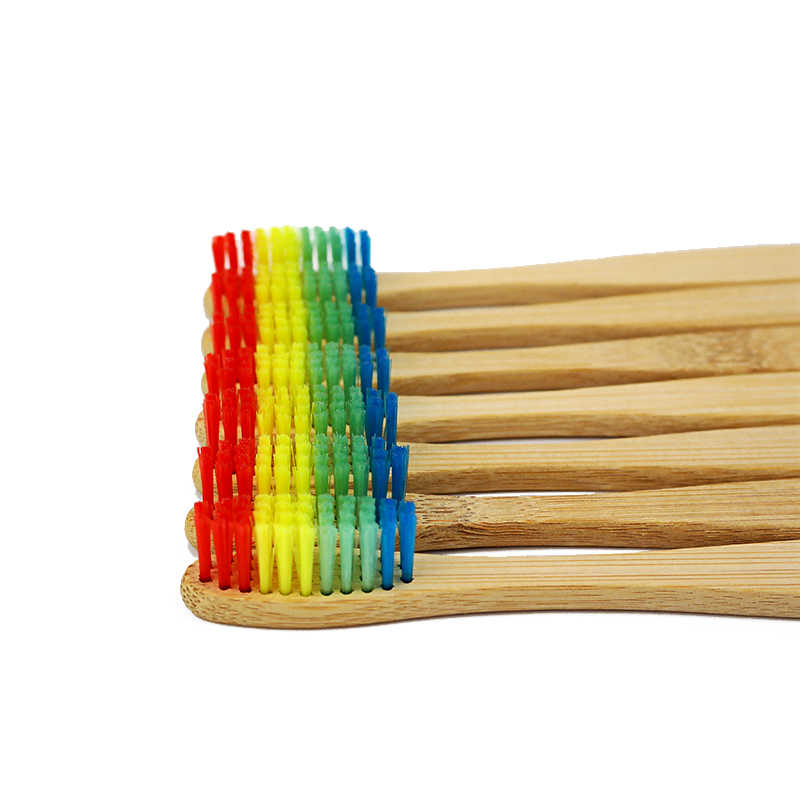 2pcs Colorful Bamboo Toothbrush Novelty Rainbow Wood Teeth Brush soft-bristle Bamboo Fibre Wooden Handle-1139