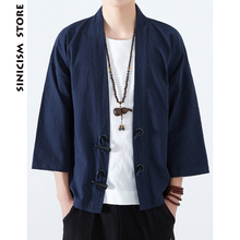 PRIVATHINKER Sinicism Store Mens Cotton Linen Japan Kimono Horn Buckle Male Chinese