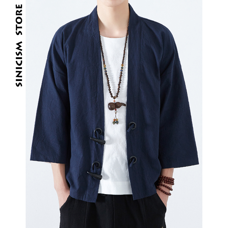 Sinicism Store Mens Cotton Linen <font><b>Shirts</b></font> Japan Kimono Horn Buckle Male Chinese Traditional Costume Open Stitch Korean <font><b>Shirt</b></font> 2018