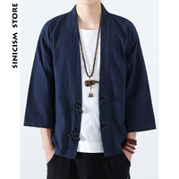 Sinicism Store Mens Cotton Linen Shirts Japan Kimono Horn Buckle Male Chinese Traditional Costume Open Stitch Korean Shirt 2018