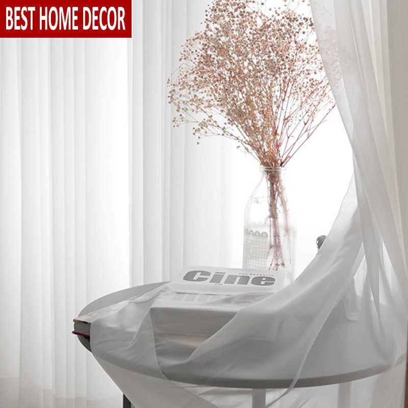 BHD לבן טול וילונות לסלון חדר שינה מודרני Sheer קישוט מודרני שיפון מוצק Sheer וואל וילון מטבח וילונות