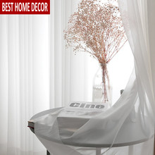 BHD Withe Tulle Curtains For Living Room Bedroom Modern Sheer Decoration Modern Chiffon Solid Sheer Voile Kitchen Curtain Drapes(China)