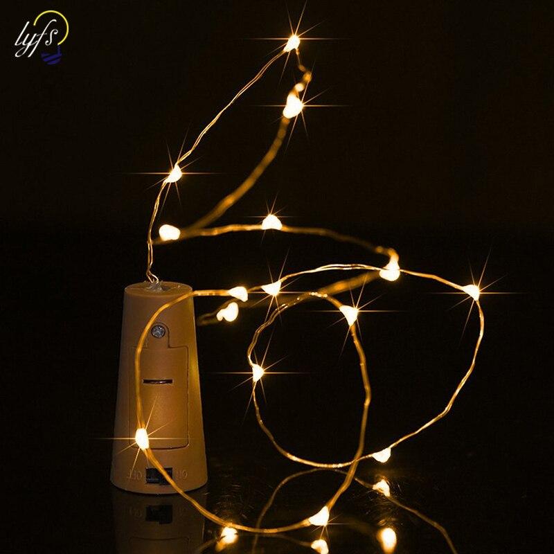 Luminaria Wine Bottle Cork Lights Cocina Decoration 15 20 Led Copper Wire Lights For Bottle Diy Christmas Wedding