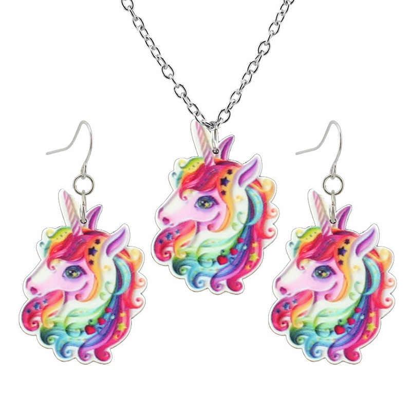 2019 Fashion Anak Perempuan Anak-anak Hadiah Perhiasan Unicorn Kecil Anting-Anting Liontin 40 Cm Rantai Pendek Kalung Pengiriman Gratis Xma Hadiah KS02