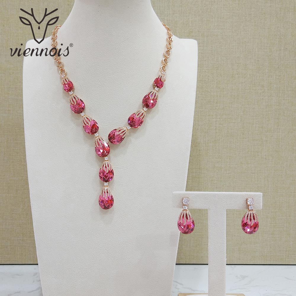 Viennois New Blue Red Color Rhinestone Drop Earrings Necklace Set for Women Party Silver Jewelry Sets
