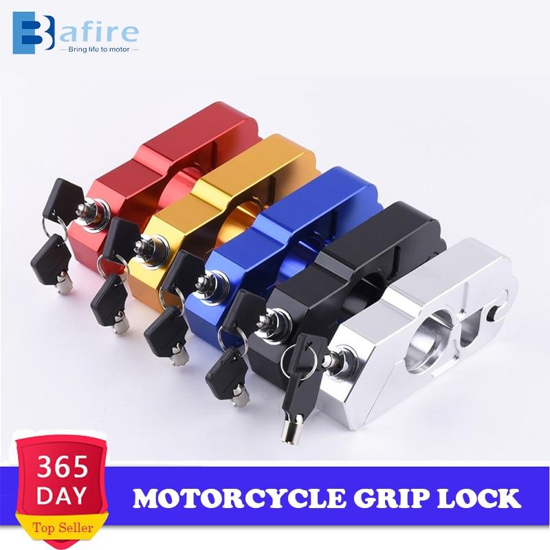 Aluminum Black Motorcycle Handlebar Brake lever Grip Security Lock Anit Theft