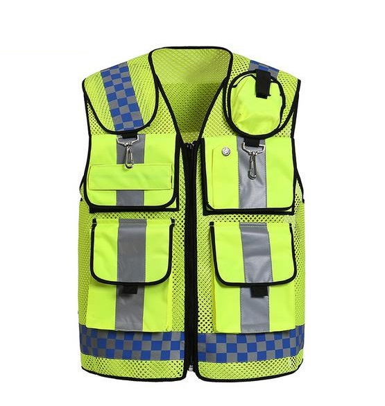Multi-functional pocket night reflective safety clothing Reflective traffic breatable mesh vest printable new style breathable mesh high visibility reflective traffic safety cycling vest printable words logo