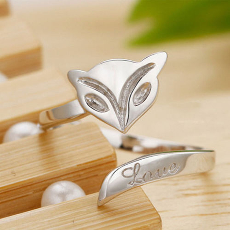 Shellhard Silver Pated Adjustable Opening Ring Luxury Animal Fox Heart Finger Rings For Women Femme Fashion Jewelry