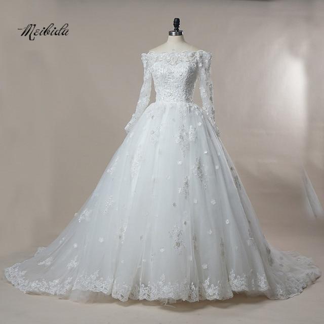 Vintage White Off Shoulder Long Sleeve Gothic Wedding Dresses Lace ...