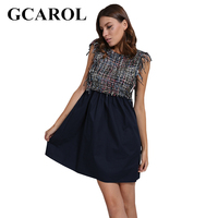 GCAROL New Arrival Tweed Spliced Women Dress Two Tone Colored Sleeveless Invisible Zipper High Waisted Dress For Ladies